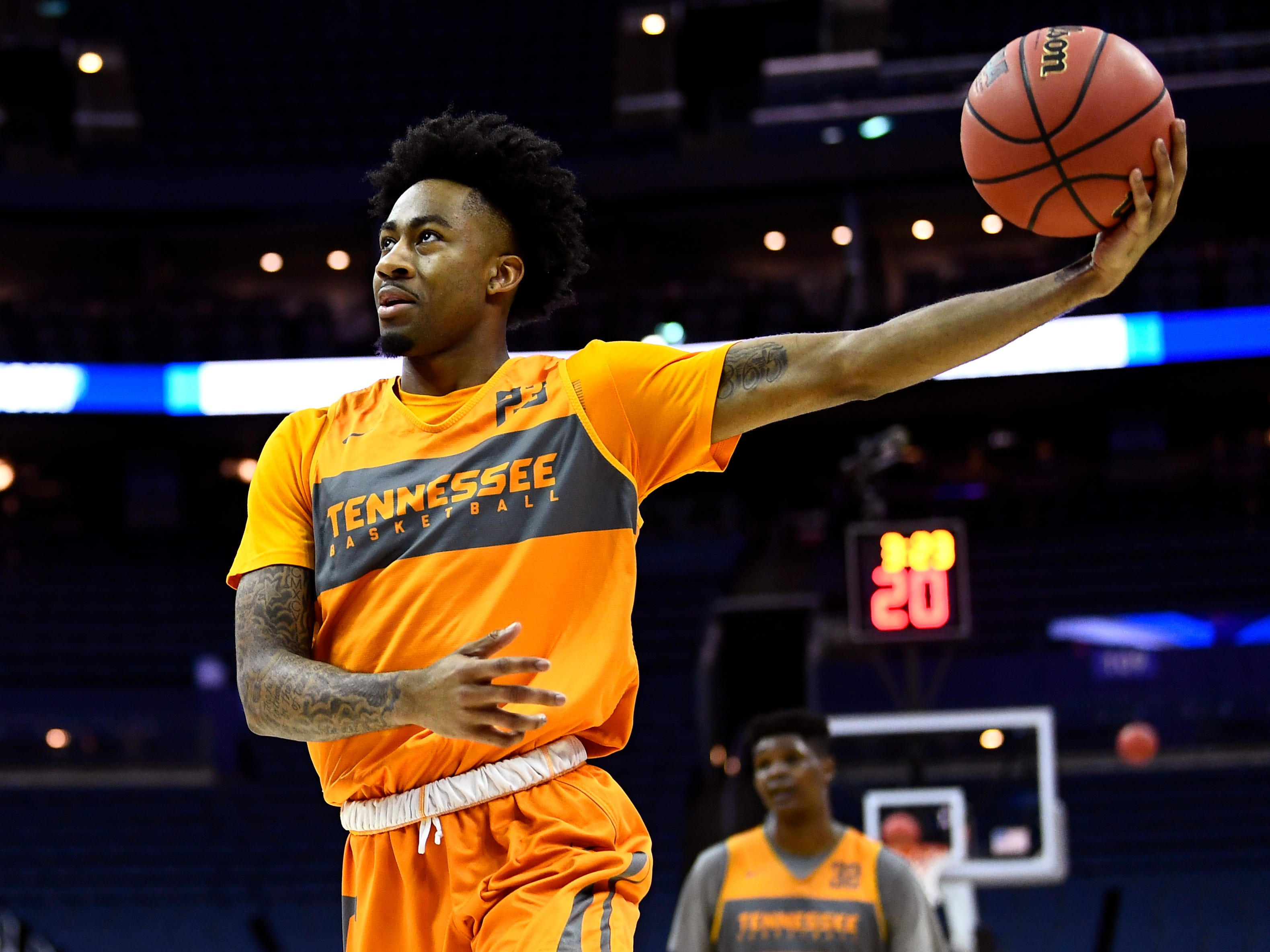 Tennessee guard Jordan Bowden (23) during Tennessee's practice on Thursday, March 21, 2019, before their first round NCAA Tournament game against Colgate at Nationwide Arena in Columbus, Ohio.