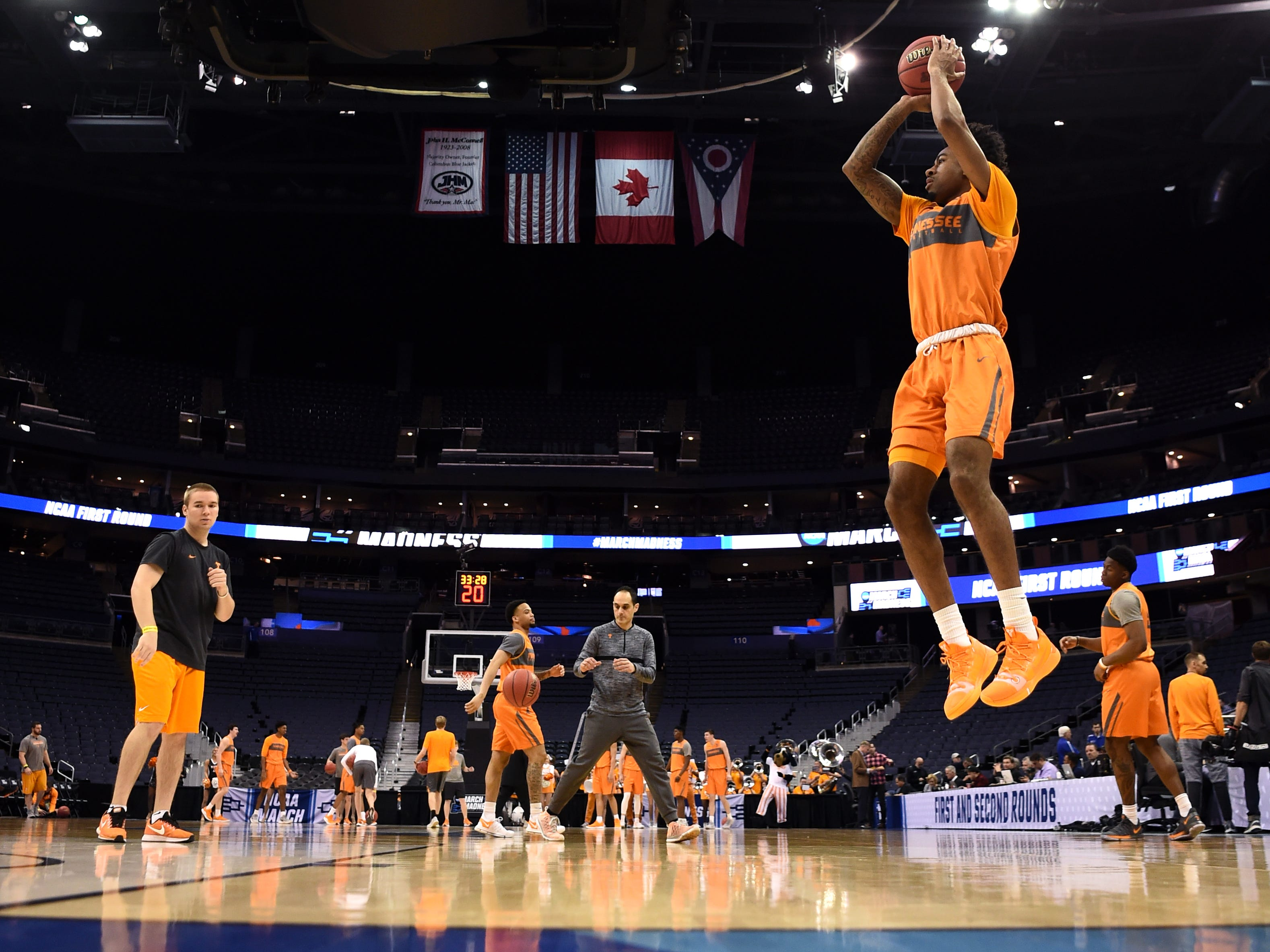 Tennessee guard Jordan Bowden (23) takes a shot during Tennessee's practice on Thursday, March 21, 2019, before their first round NCAA Tournament game against Colgate at Nationwide Arena in Columbus, Ohio.