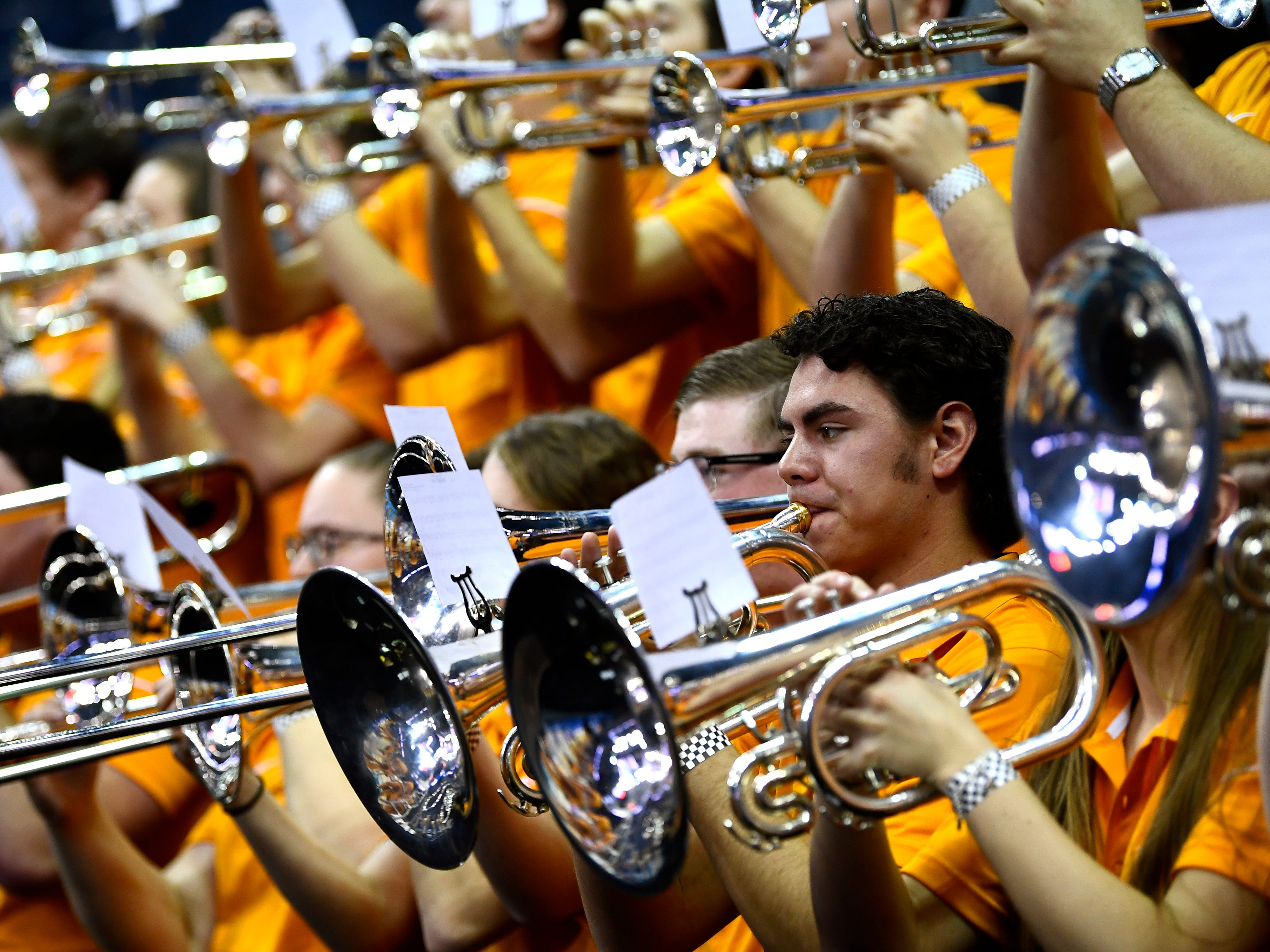 The Tennessee pep band plays during Tennessee's basketball practice on Thursday, March 21, 2019, before their first round NCAA Tournament game against Colgate at Nationwide Arena in Columbus, Ohio.