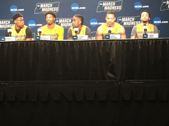 Tennessee players, from left, Admiral Schofield, Kyle Alexander, Jordan Bone, Grant Williams and Lamonte Turner share the dais during a press conference Thursday at Nationwide Arena in Columbus, Ohio.