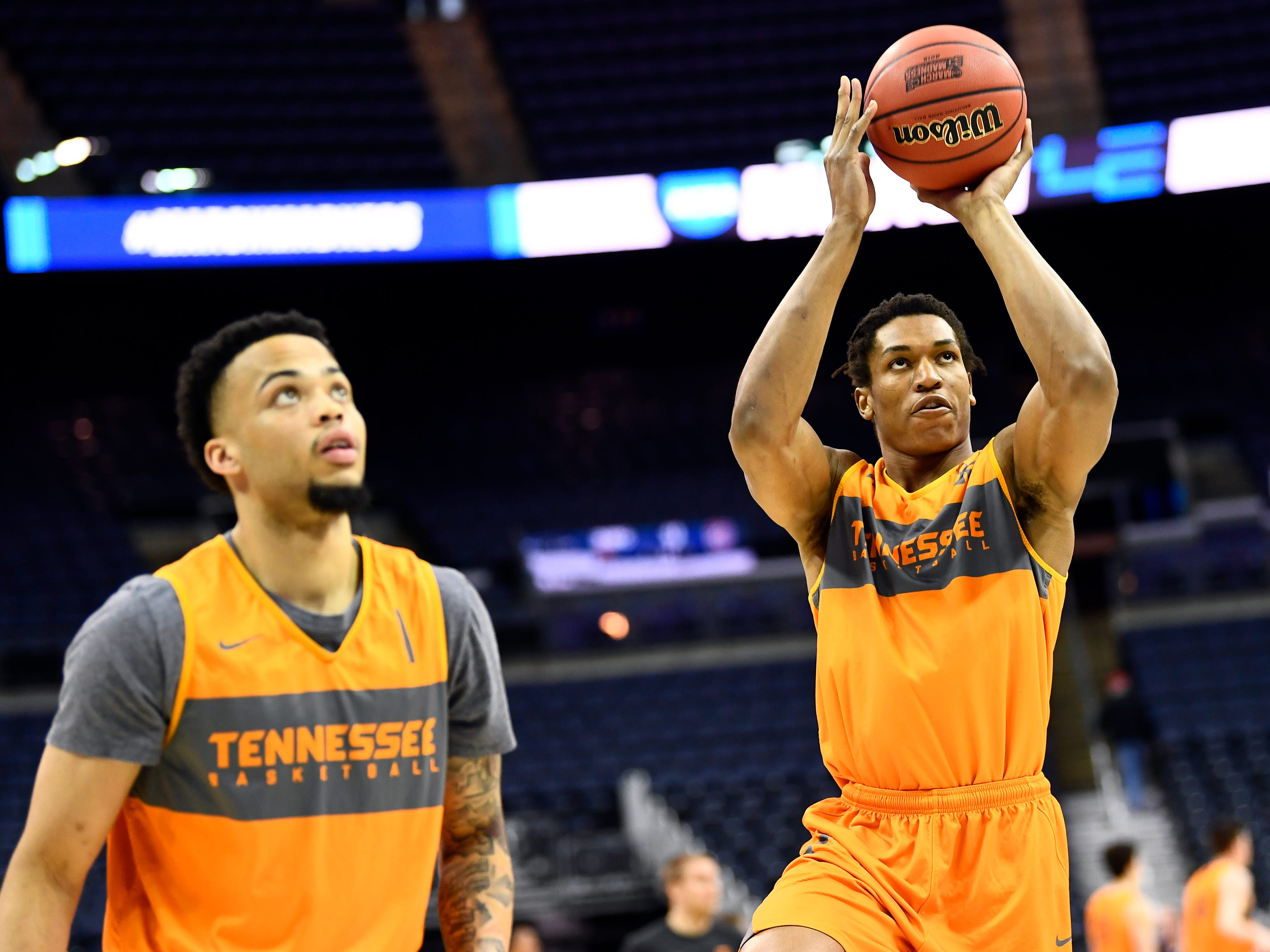 Tennessee guard/forward Yves Pons (35) shoots the ball during Tennessee's practice on Thursday, March 21, 2019, before their first round NCAA Tournament game against Colgate at Nationwide Arena in Columbus, Ohio.