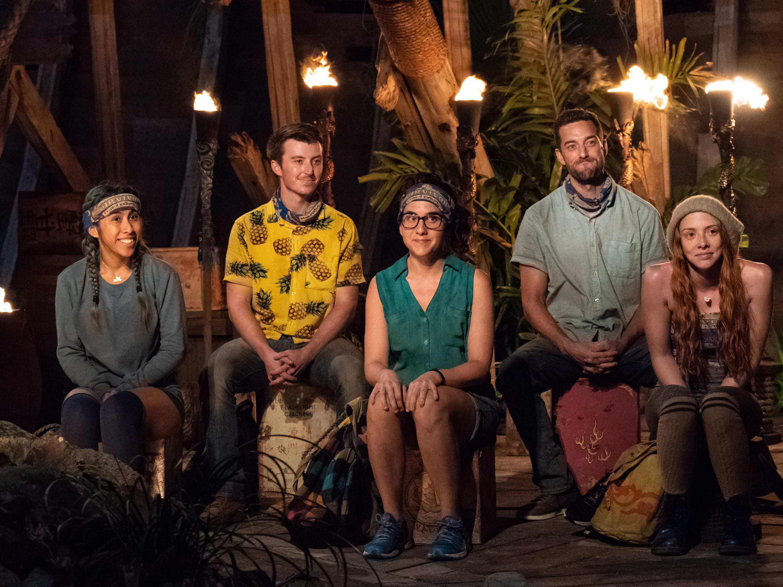 "Wendy Diaz, Gavin Whitson, Aubry Bracco, Eric Hafemann and Victoria Baamonde at the Tribal Council on ""Survivor: Edge of Extinction."""