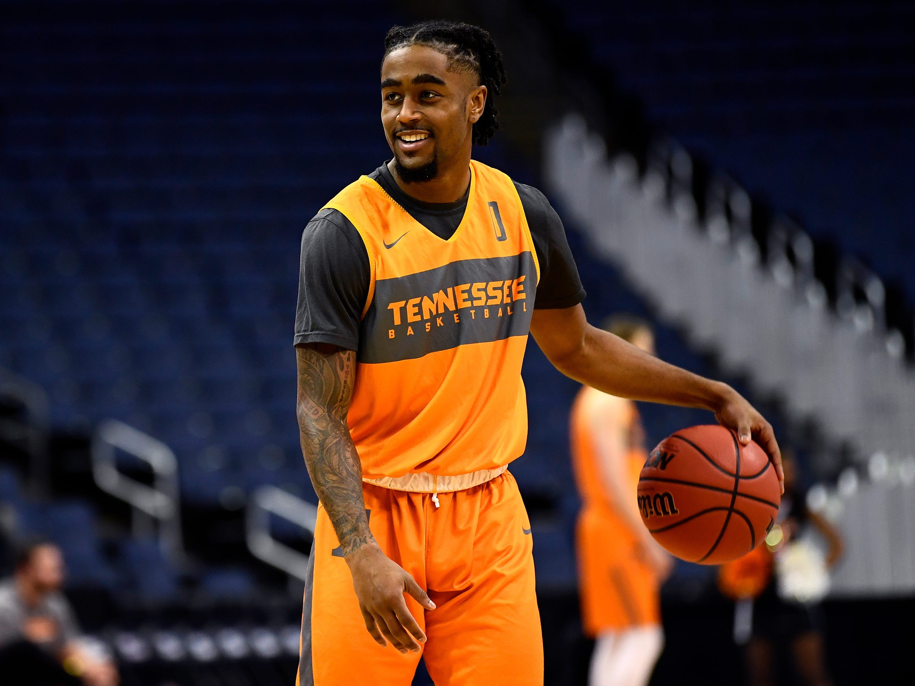 Tennessee guard Jordan Bone (0) during Tennessee's practice on Thursday, March 21, 2019, before their first round NCAA Tournament game against Colgate at Nationwide Arena in Columbus, Ohio.