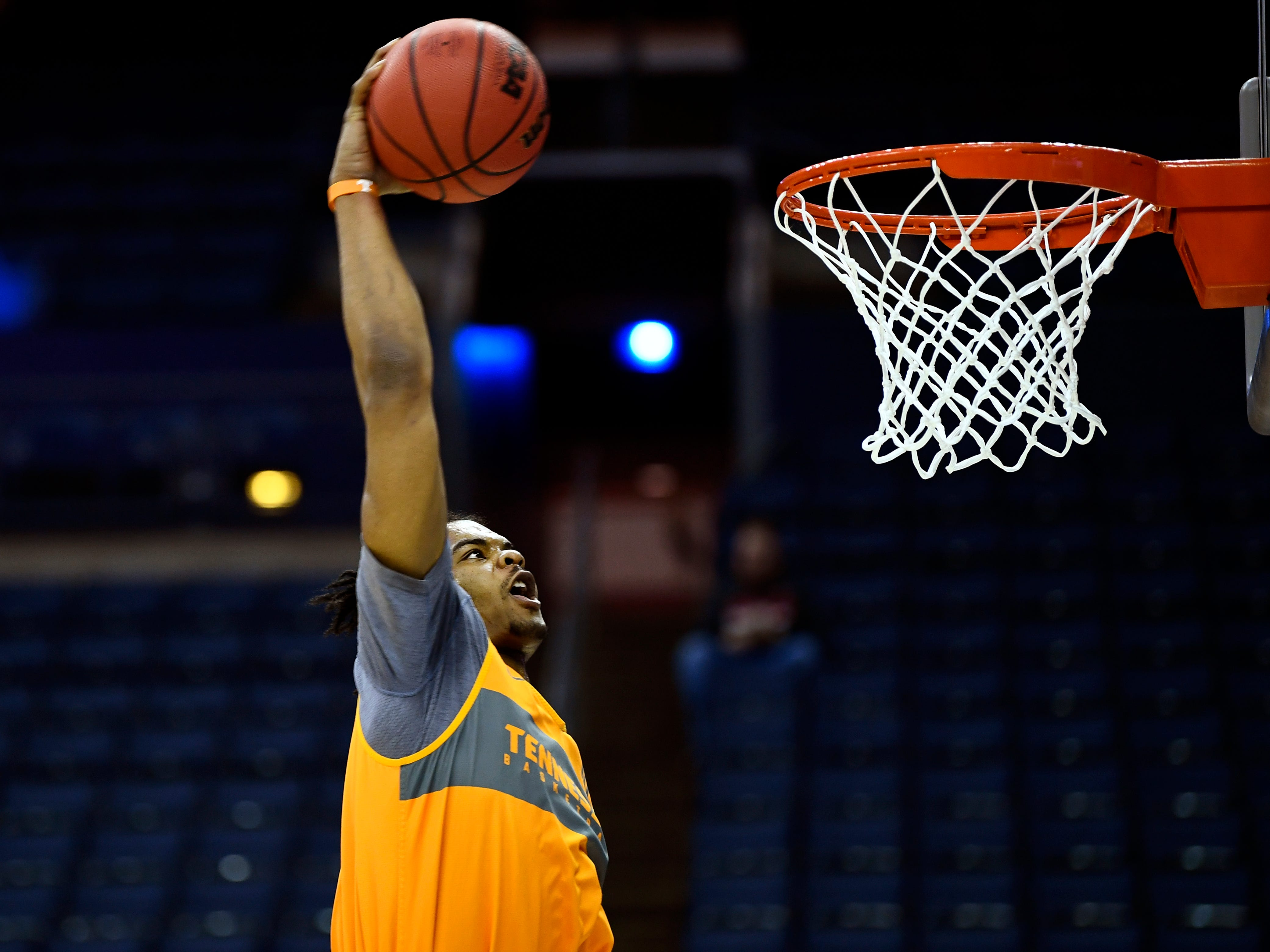 Tennessee forward Derrick Walker (15) dunks the ball during Tennessee's practice on Thursday, March 21, 2019, before their first round NCAA Tournament game against Colgate at Nationwide Arena in Columbus, Ohio.