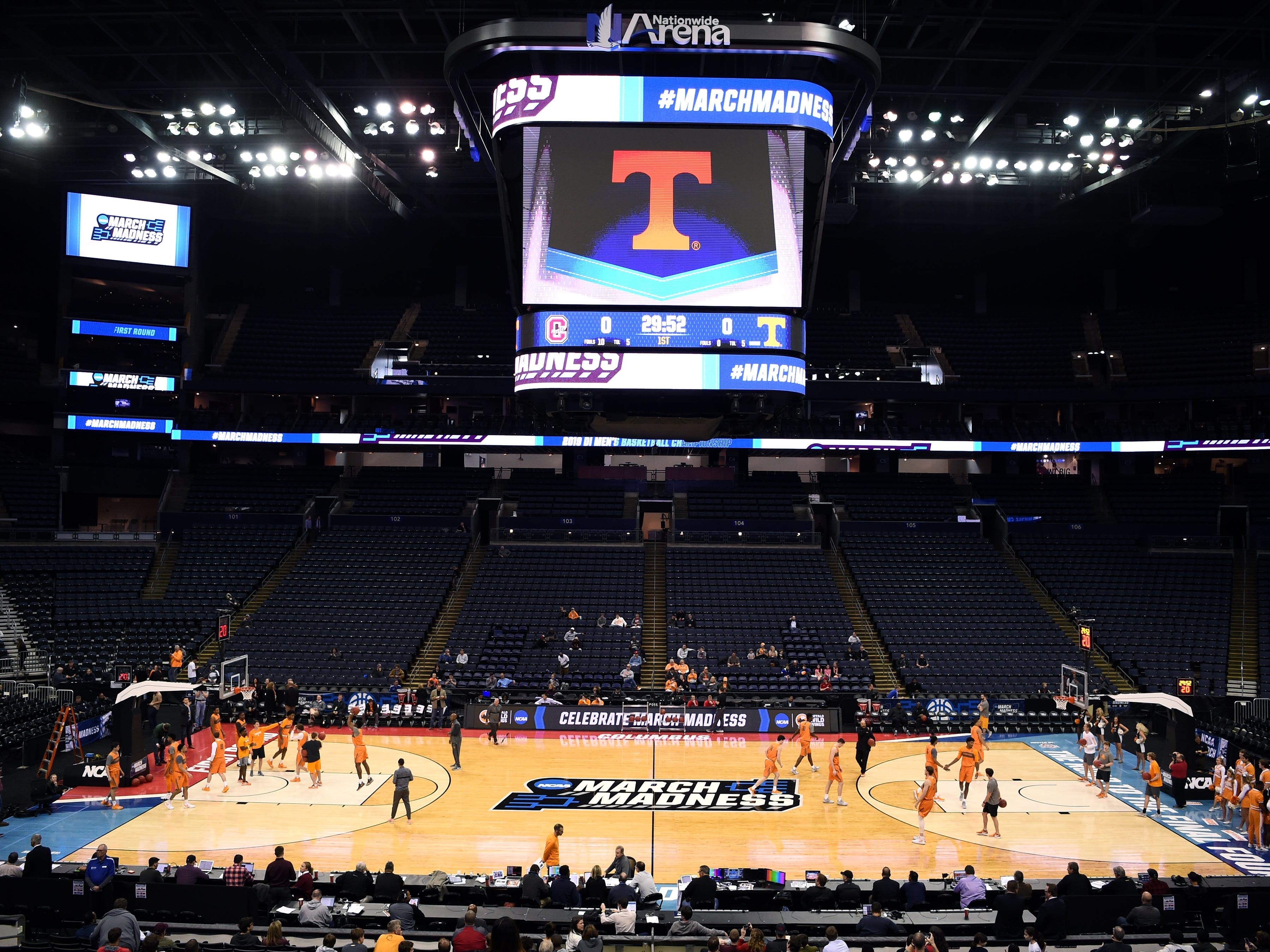 Tennessee basketball practice on Thursday, March 21, 2019, before their first round NCAA Tournament game against Colgate at Nationwide Arena in Columbus, Ohio.