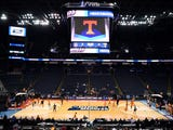 The Tennessee basketball team takes the court for practice at the NCAA Tournament in Columbus on March 21, 2019.