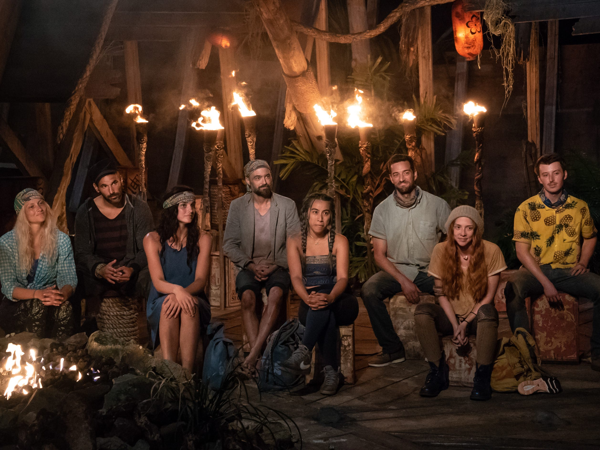 "Kelly Wentworth, Dan ""Wardog"" Dasilva, Lauren O'Connell, David Wright, Wendy Diaz, Eric Hafemann, Victoria Baamonde and Gavin Whitson take part in a joint Tribal Council on ""Survivor: Edge of Extinction."""