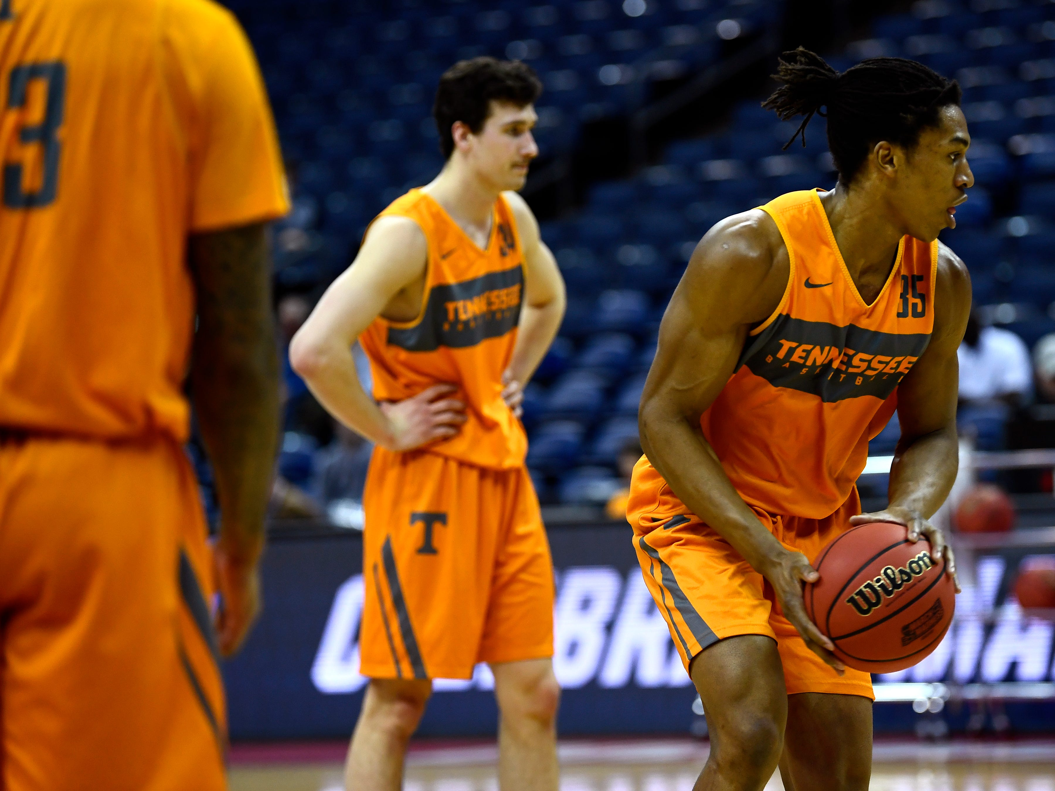 Tennessee guard/forward Yves Pons (35) during Tennessee's practice on Thursday, March 21, 2019, before their first round NCAA Tournament game against Colgate at Nationwide Arena in Columbus, Ohio.