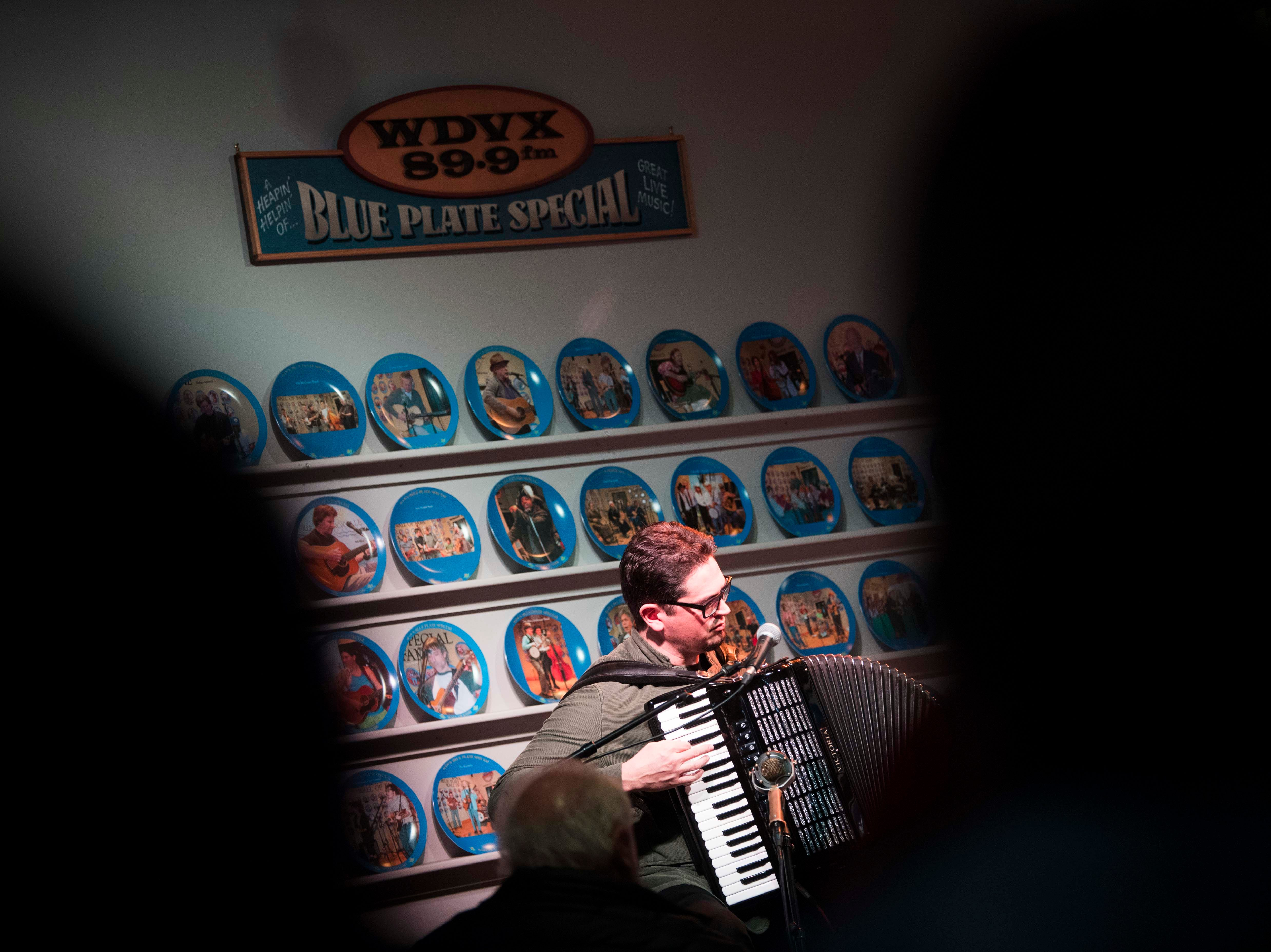 Francesco Turrisi performs during the WDVX Blue Plate Special in downtown Knoxville Thursday, March 21, 2019. The concert is the first performances of the 2019 Big Ears festival.