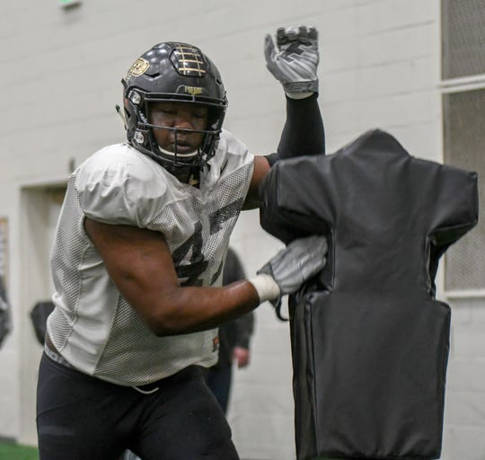 Purdue defensive lineman Jeff Marks during spring football in West Lafayette on Wednesday March 20, 2019.