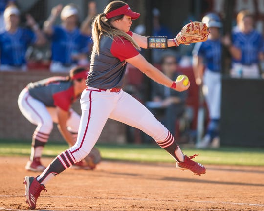Summer Ellyson gets the call to the circle as the UL Ragin' Lady Cajuns play the McNeese Cowgirls at Lamson Park on Wednesday, March 20, 2019.