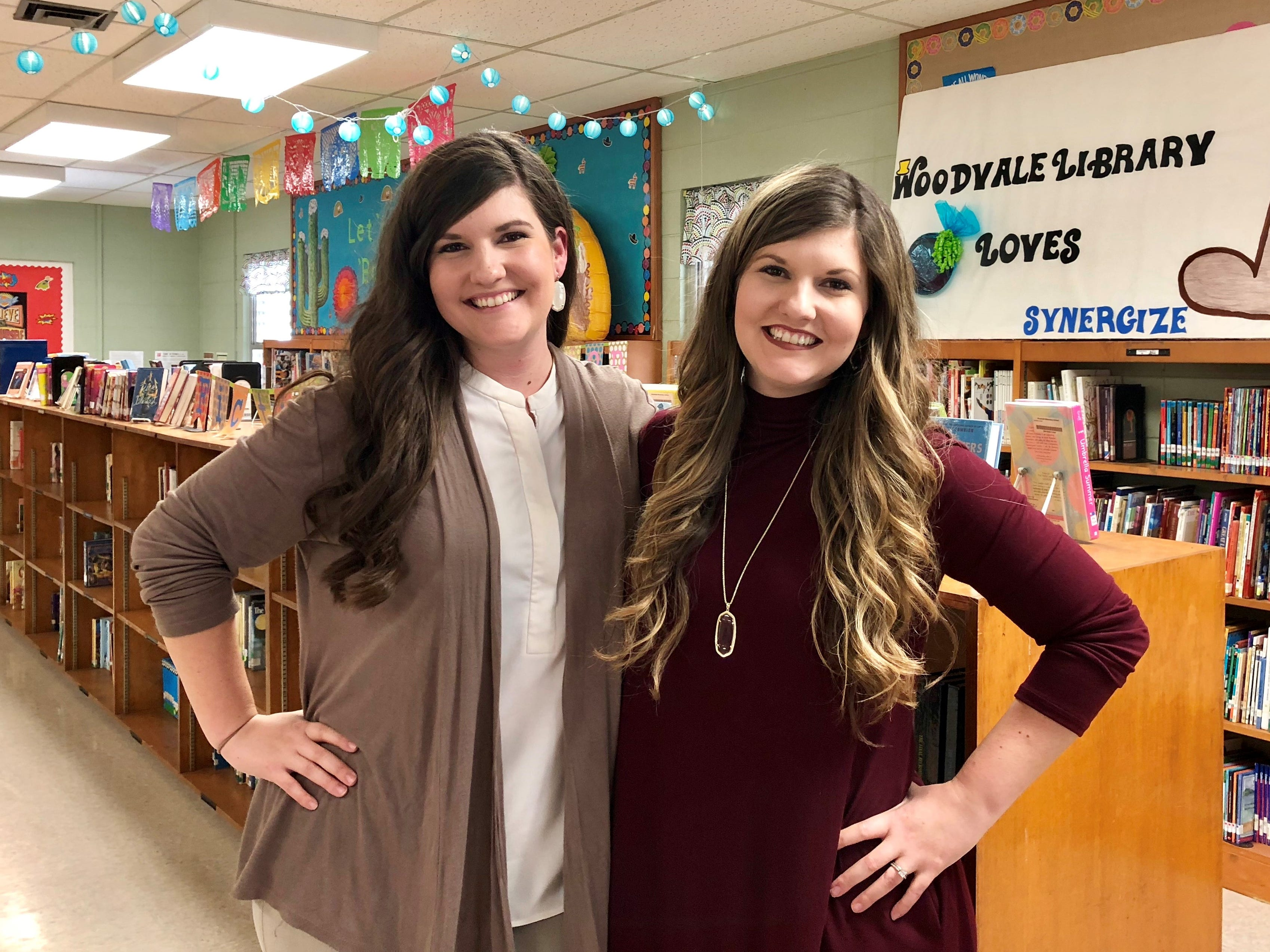 Twin sisters Megan Mercado and Taylor Wallace teach gifted at Woodvale Elementary, their alma mater.