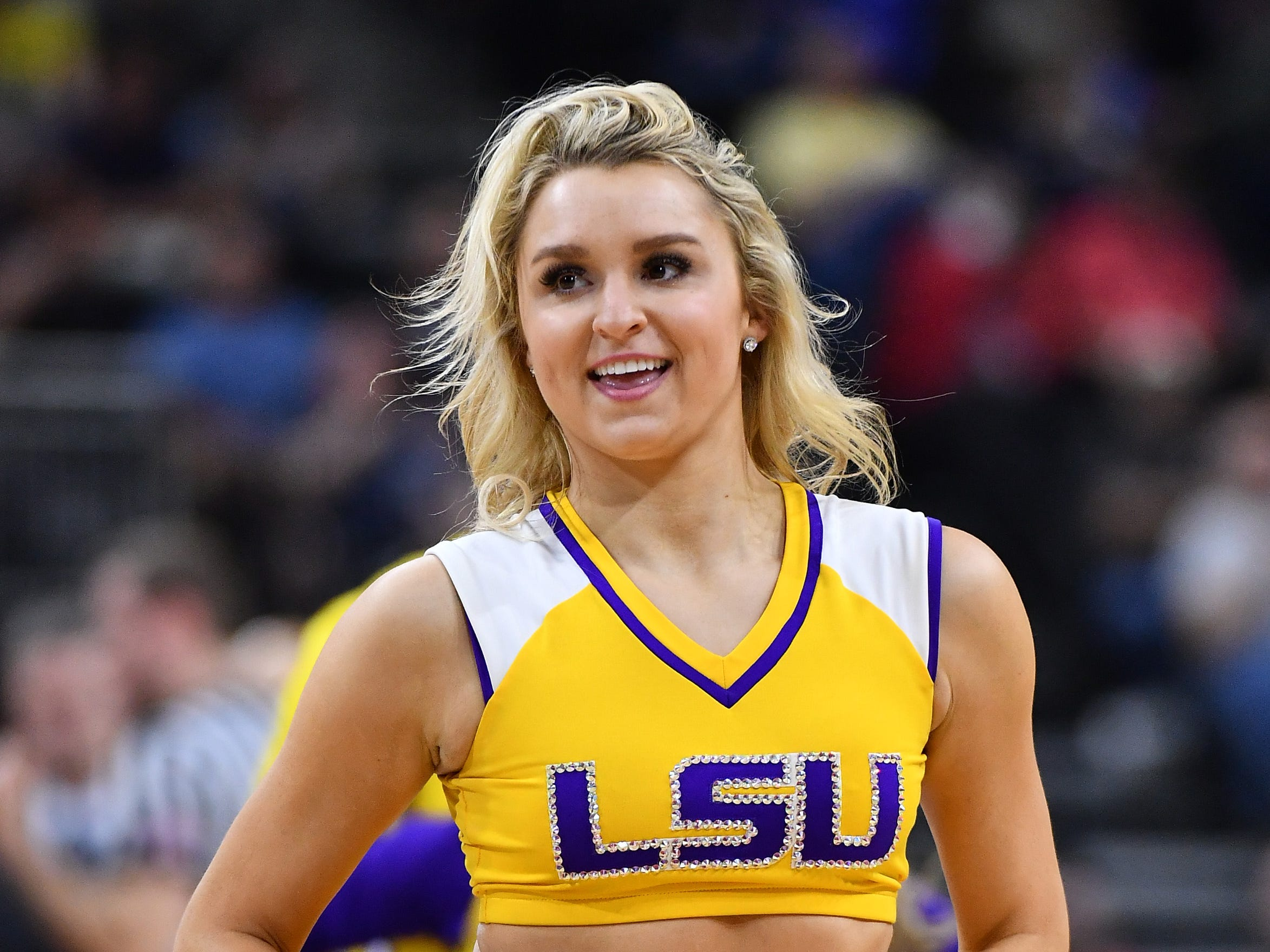 Mar 21, 2019; Jacksonville, FL, USA; The LSU Tigers cheerleaders perform during the first half against the Yale Bulldogs in the first round of the 2019 NCAA Tournament at Jacksonville Veterans Memorial Arena. Mandatory Credit: John David Mercer-USA TODAY Sports