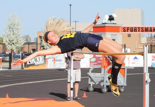 Hartland's Lindsey Strutz set a school record in the high jump, clearing 5 feet, 5 inches to take first place in the Saginaw Valley State University Indoor Invitational.