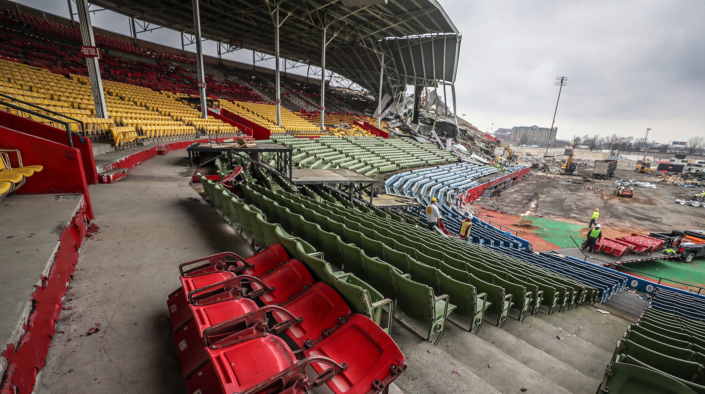 Old Cardinal Stadium in Louisville is finally coming down