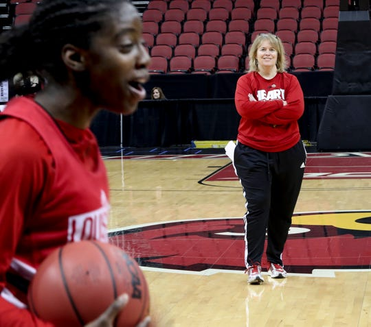 Louisville's Stephanie Norman during practice on March 21 at the KFC Yum Center the day before the Cards will take on Robert Morris.