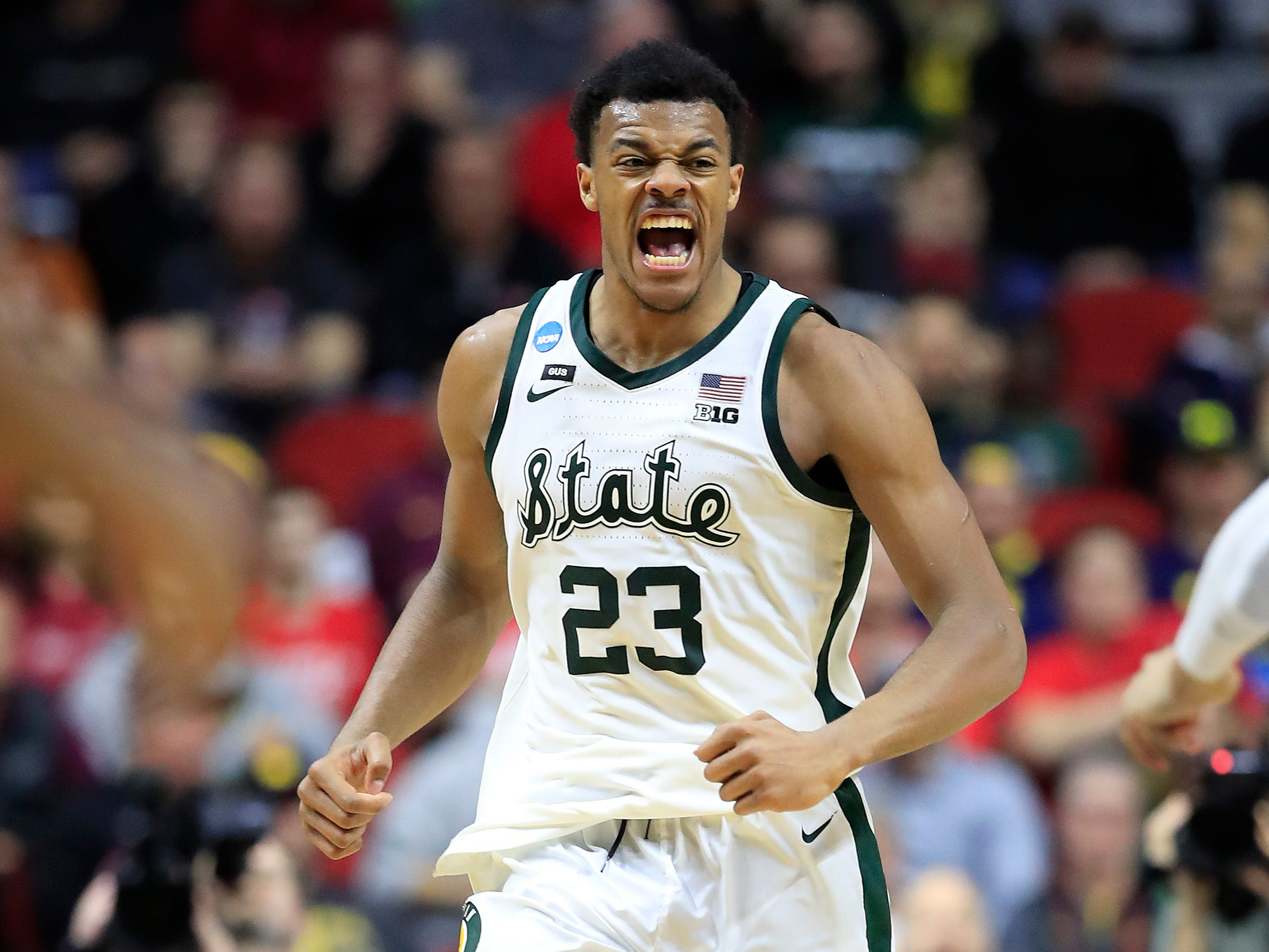 Xavier Tillman #23 of the Michigan State Spartans reacts after a play against the Bradley Braves during their game in the First Round of the NCAA Basketball Tournament at Wells Fargo Arena on March 21, 2019 in Des Moines, Iowa.