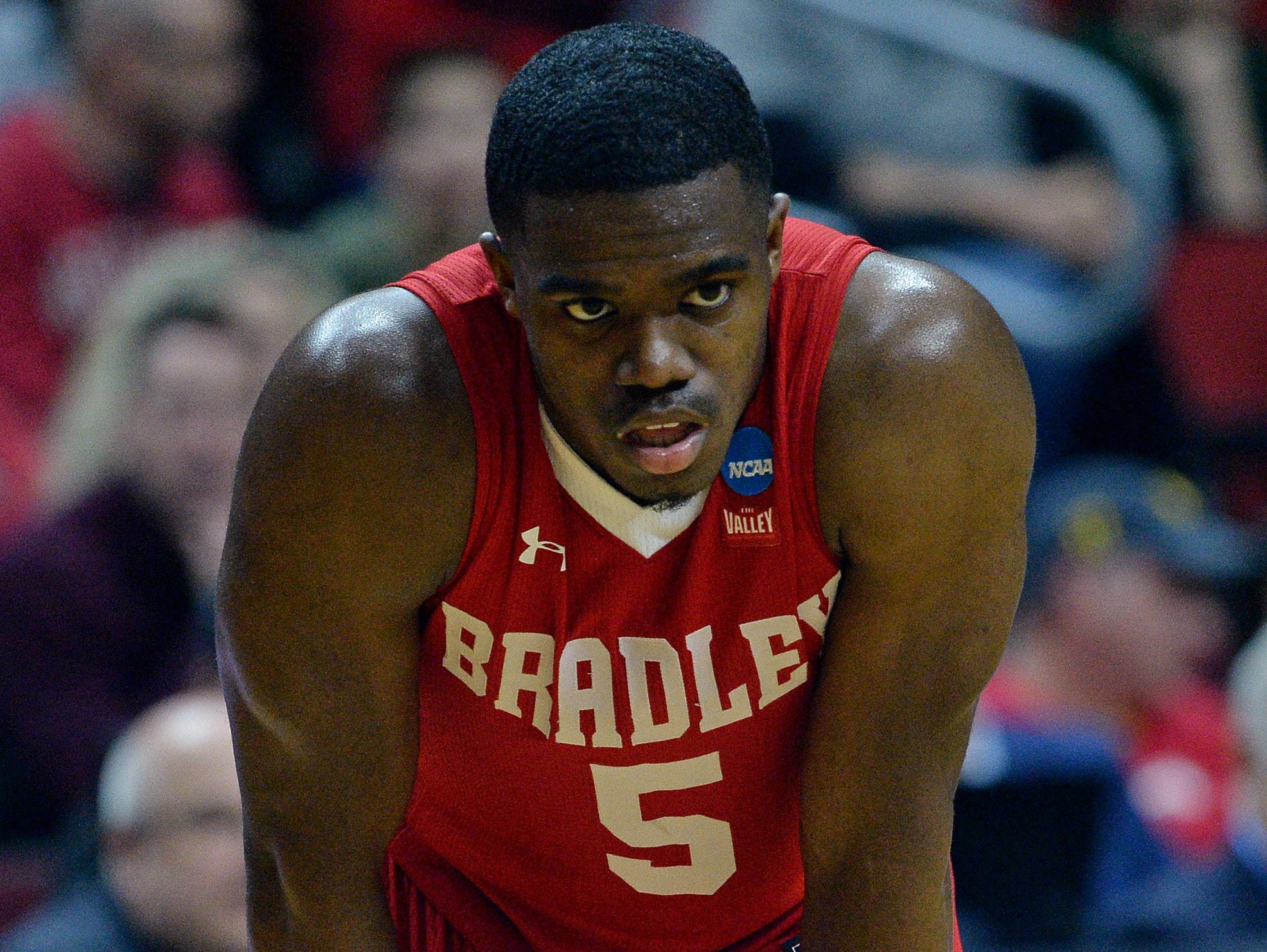 Mar 21, 2019; Des Moines, IA, United States; Bradley Braves guard Darrell Brown (5) reacts during the second half against the Michigan State Spartans in the first round of the 2019 NCAA Tournament at Wells Fargo Arena. Mandatory Credit: Steven Branscombe-USA TODAY Sports