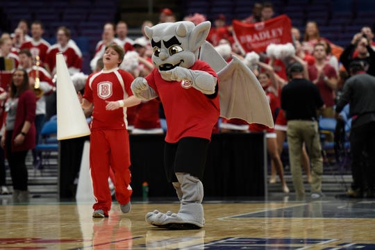The Bradley Braves mascot performs during a time out during a game against the Loyola Ramblers during the first half in the Missouri Valley Conference Tournament at Enterprise Center.
