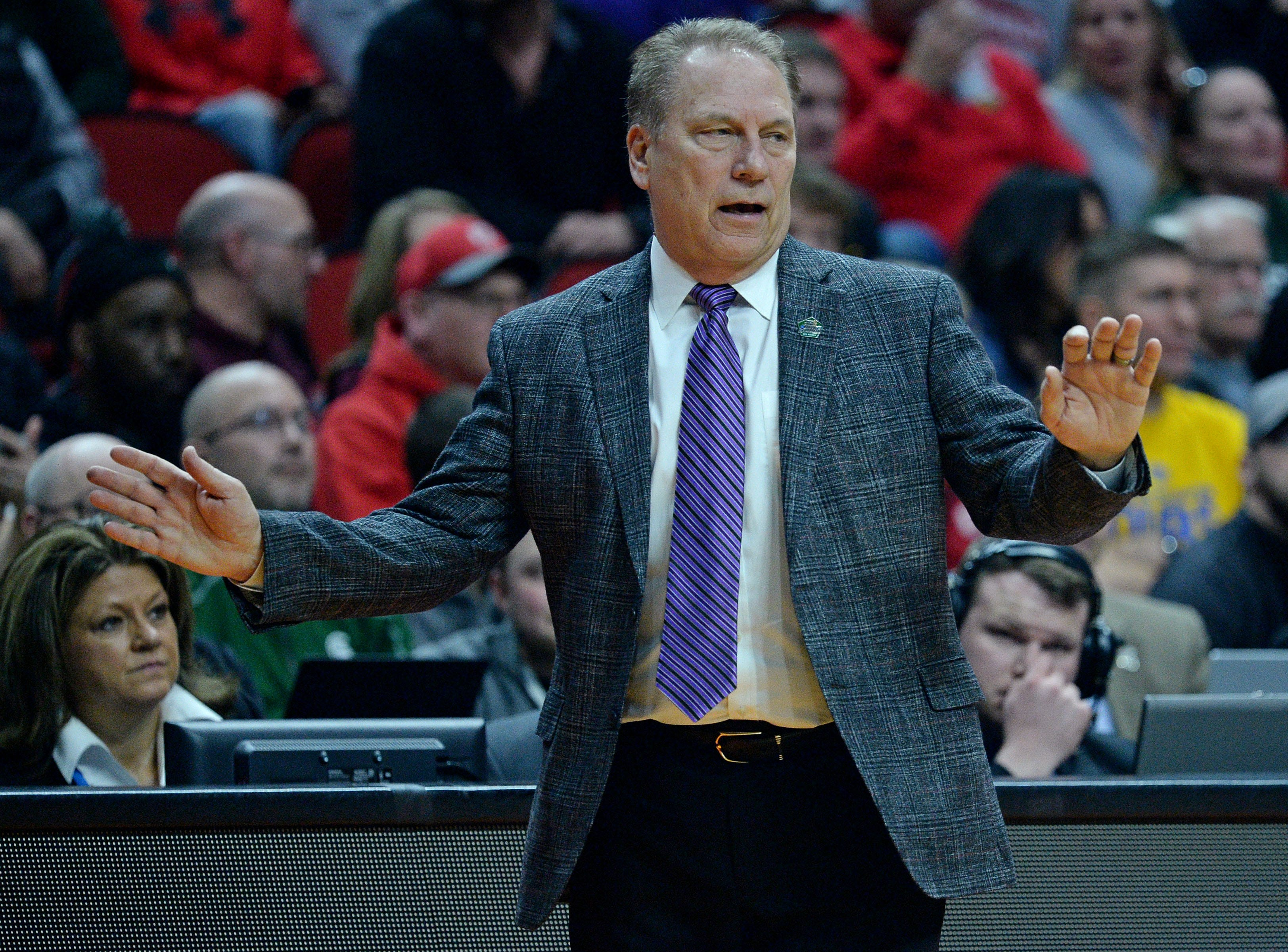 Mar 21, 2019; Des Moines, IA, United States; Michigan State Spartans head coach Tom Izzo reacts during the first half against the Bradley Braves in the first round of the 2019 NCAA Tournament at Wells Fargo Arena. Mandatory Credit: Steven Branscombe-USA TODAY Sports