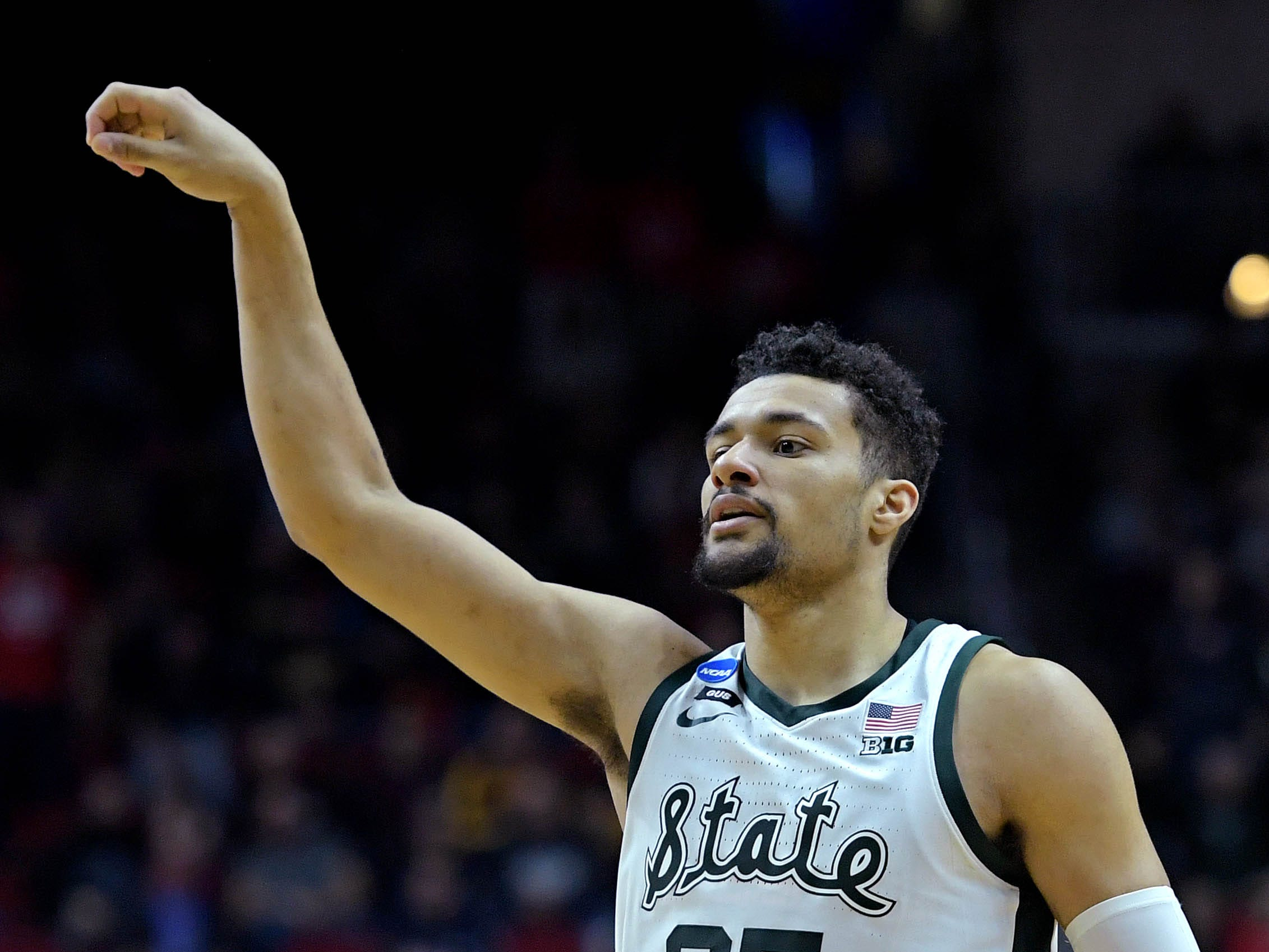 Mar 21, 2019; Des Moines, IA, United States; Michigan State Spartans forward Kenny Goins (25) reacts after a play during the second half against the Bradley Braves in the first round of the 2019 NCAA Tournament at Wells Fargo Arena. Mandatory Credit: Steven Branscombe-USA TODAY Sports