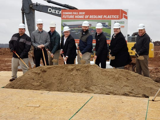 Redline Plastics broke ground on a new 117,900-square-foot headquarters in the I-43 Technology & Enterprise Campus in Manitowoc March 21. Among those speaking at the groundbreaking were Manitowoc Mayor Justin Nickels, Redline Plastics Vice President of Operations Nick Murray, State Rep. Paul Tittl and Progress Lakeshore Executive Director Peter Wills.