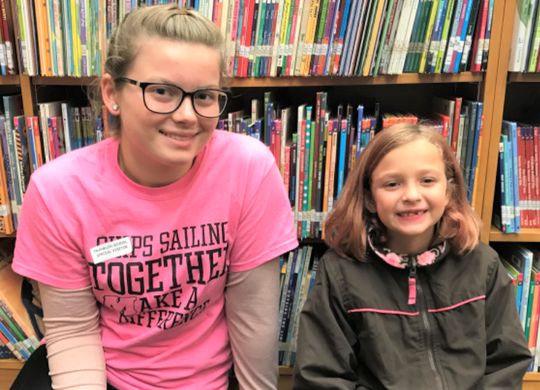 A Big Sister and Little Sister in Big Brothers Big Sisters of Manitowoc County's school-based program.