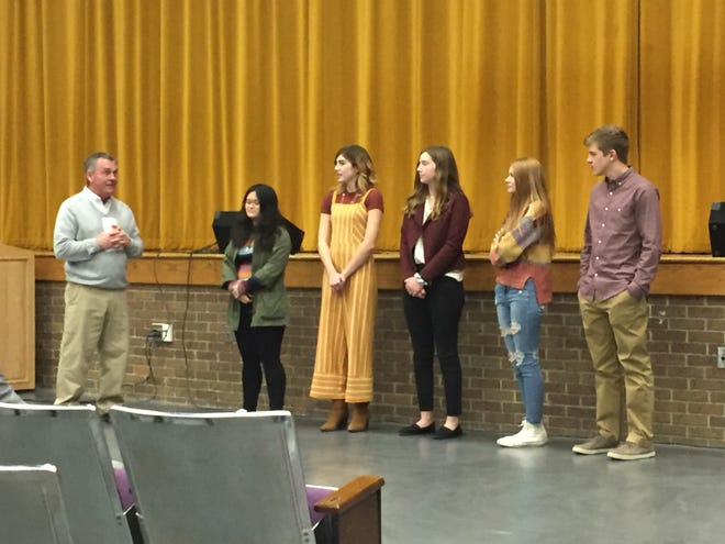 Lexington art students whose work was accepted for the Ohio Governor's Youth Art Exhibition were recognized at Wednesday night's school board meeting.