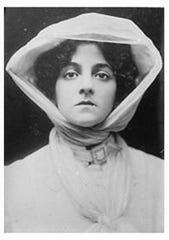 Elsie Janis, 17 years old, in The Vanderbilt Cup (1906). She's dressed in early automobile attire. In the play, she drives a car on stage.