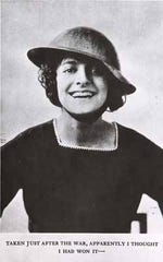 "This iconic 1918 photo of Elsie Janis, her curls bouncing out from under the brim of a steel Brody helmet, captures the essence of the WWI ""Sweetheart of the American Expeditionary Force."""