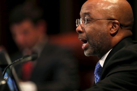 Councilman Martavius Jones speaks during a Memphis City Council meeting Tuesday, Jan. 8, 2019.