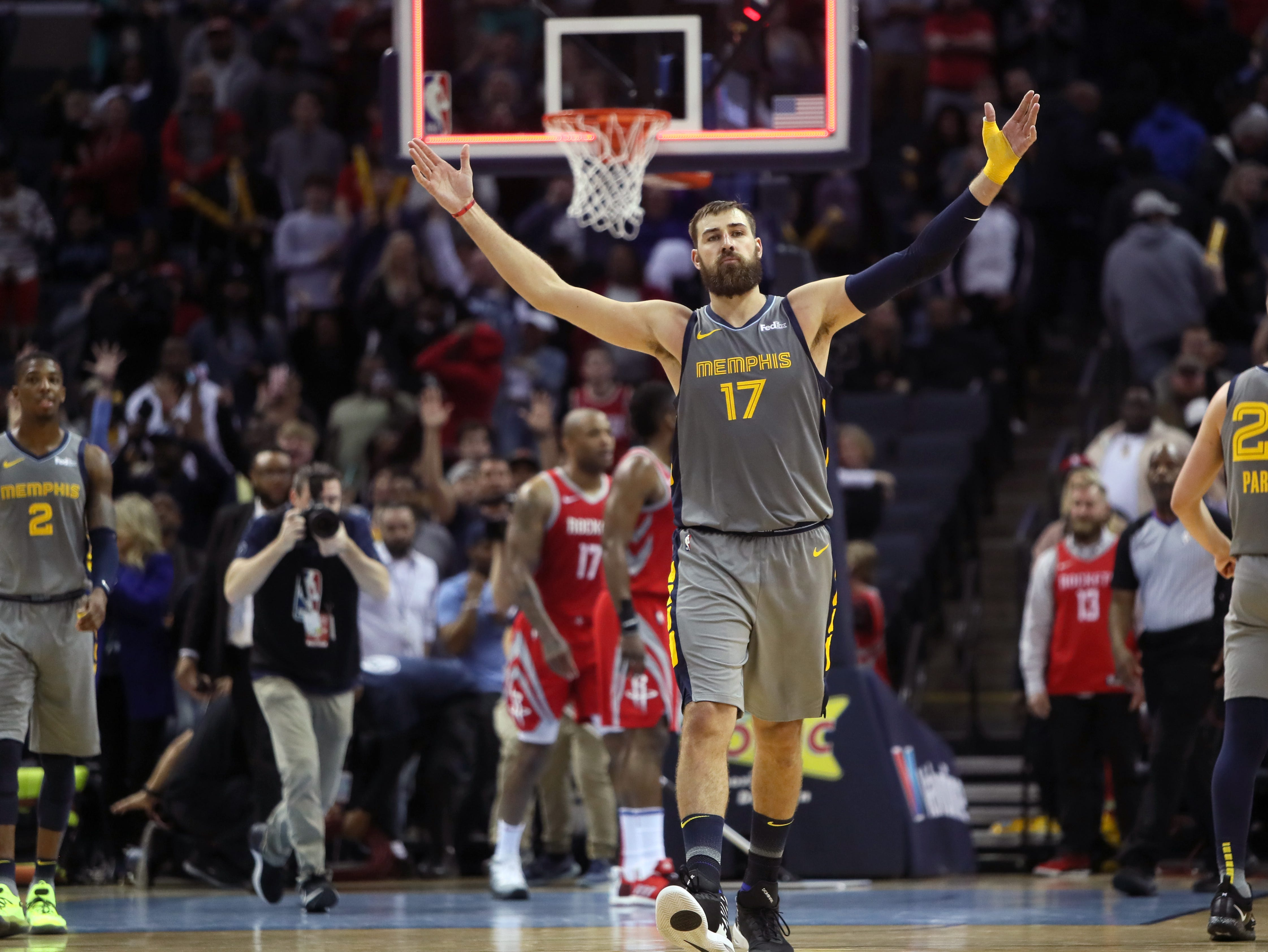 Memphis Grizzlies center Jonas Valanciunas walks off the floor after hitting a free throw to defeat the Houston Rockets in overtime 126-125 at the FedExForum on Wednesday, March 20, 2019.