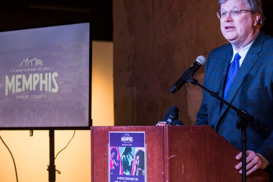 Memphis Mayor Jim Strickland speaks during an event March 21, 2019, to announce upcoming events to celebrate the Memphis and Shelby County bicentennials.