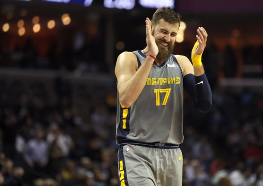 Memphis Grizzlies center Jonas Valanciunas celebrates a made shot by his teammates against the Houston Rockets during their game at the FedExForum on Wednesday, March 20, 2019.