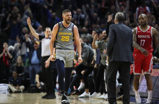 Memphis Grizzlies forward  Chandler Parsons screams out after hitting a three point shot with just seconds to go in their overtime game against the Houston Rockets at the FedExForum on Wednesday, March 20, 2019.