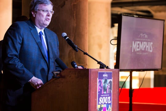 """March 21, 2019 - Memphis Mayor Jim Strickland speaks during an event to announce upcoming events to celebrate the Memphis and Shelby County bicentennial. Memphis and Shelby County will ring in a """"new century of soul"""" with a series of events that celebrate their first 200 years and look ahead to the next century."""
