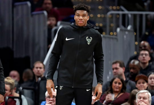 Giannis Antetokounmpo was one of seven Bucks players who didn't suit up against the Cavaliers due to injury.