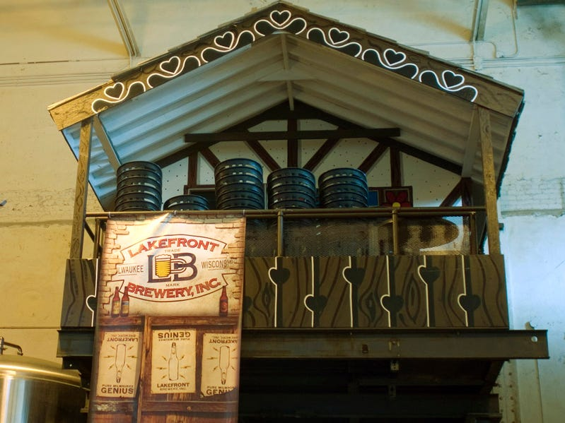 After County Stadium was torn down and Bernie Brewer was given a new home, his old chalet wound up at Milwaukee's Lakefront Brewery, as shown in this 2008 photo.