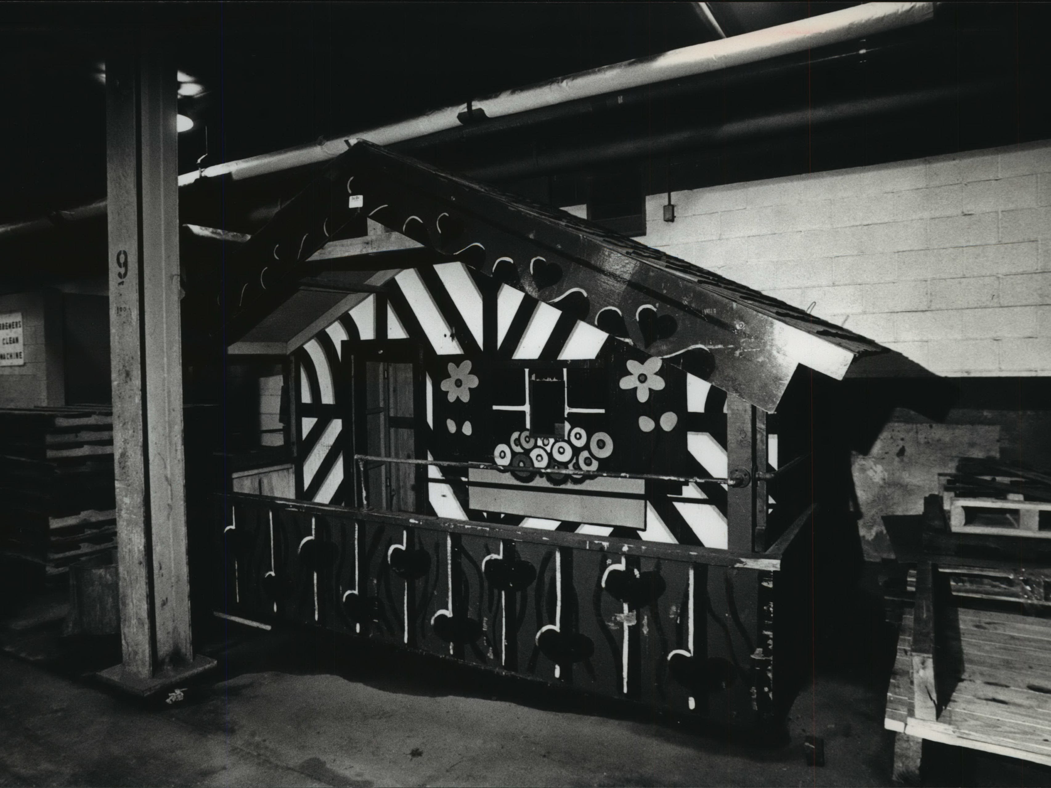 Bernie Brewer's chalet sits in storage beneath County Stadium in April 1993, waiting to be reintroduced to fans later that season when the Milwaukee Brewers finished installing a new giant beer barrel and mug in the stadium's bleachers. This photo was published in the April 11, 1993, Milwaukee Journal.