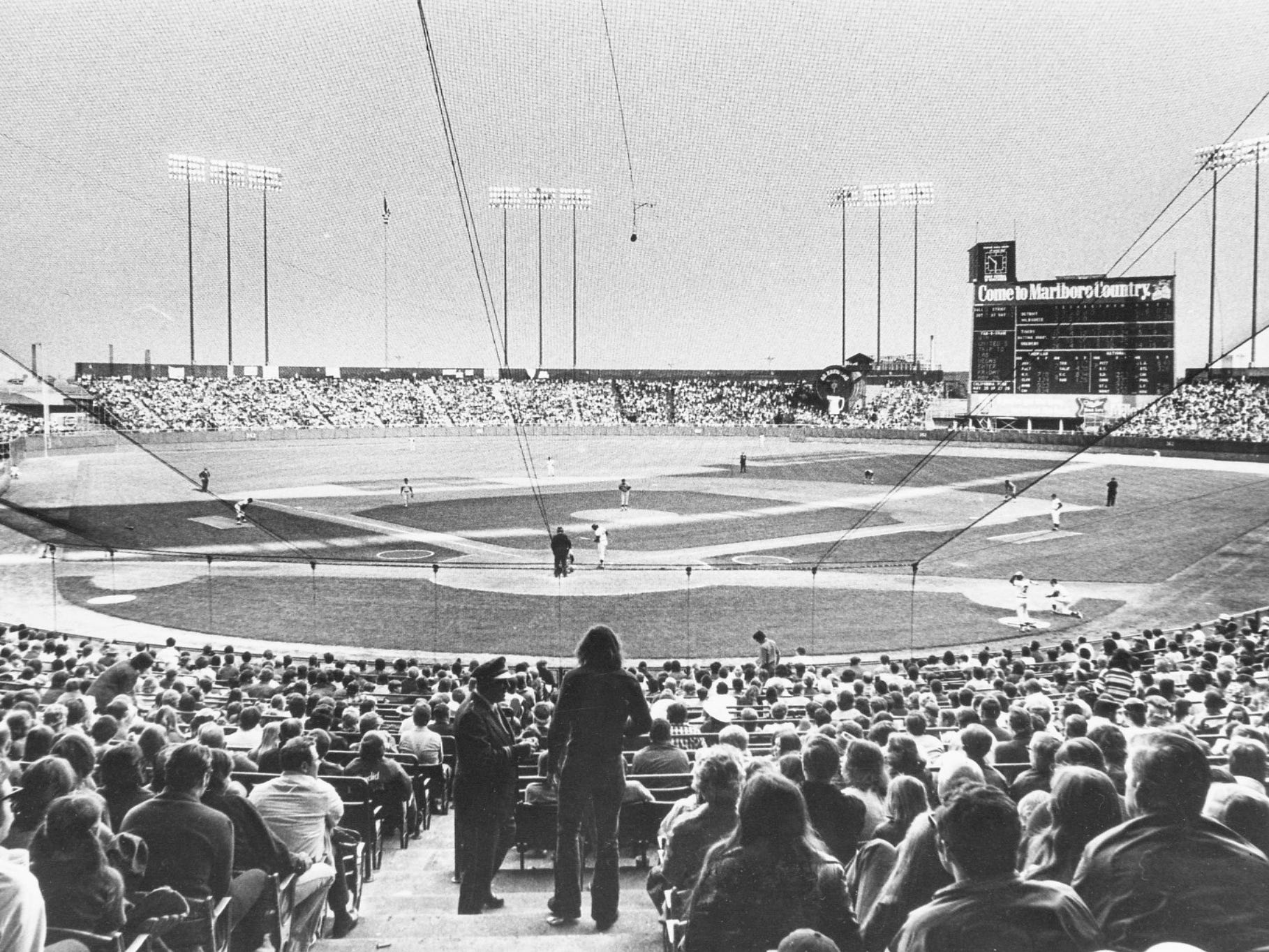 The Milwaukee Brewers drew more than 1 million fans for the first time in their four-year history in 1973. This was the scene at a game on May 20. 1973, when the team recorded its second-largest attendance ever - 41,655 - for a doubleheader with the Detroit Tigers at County Stadium. Bernie Brewer's chalet is in right-center field, to the left of the scoreboard. This photo was published in the May 21, 1973, Milwaukee Journal.