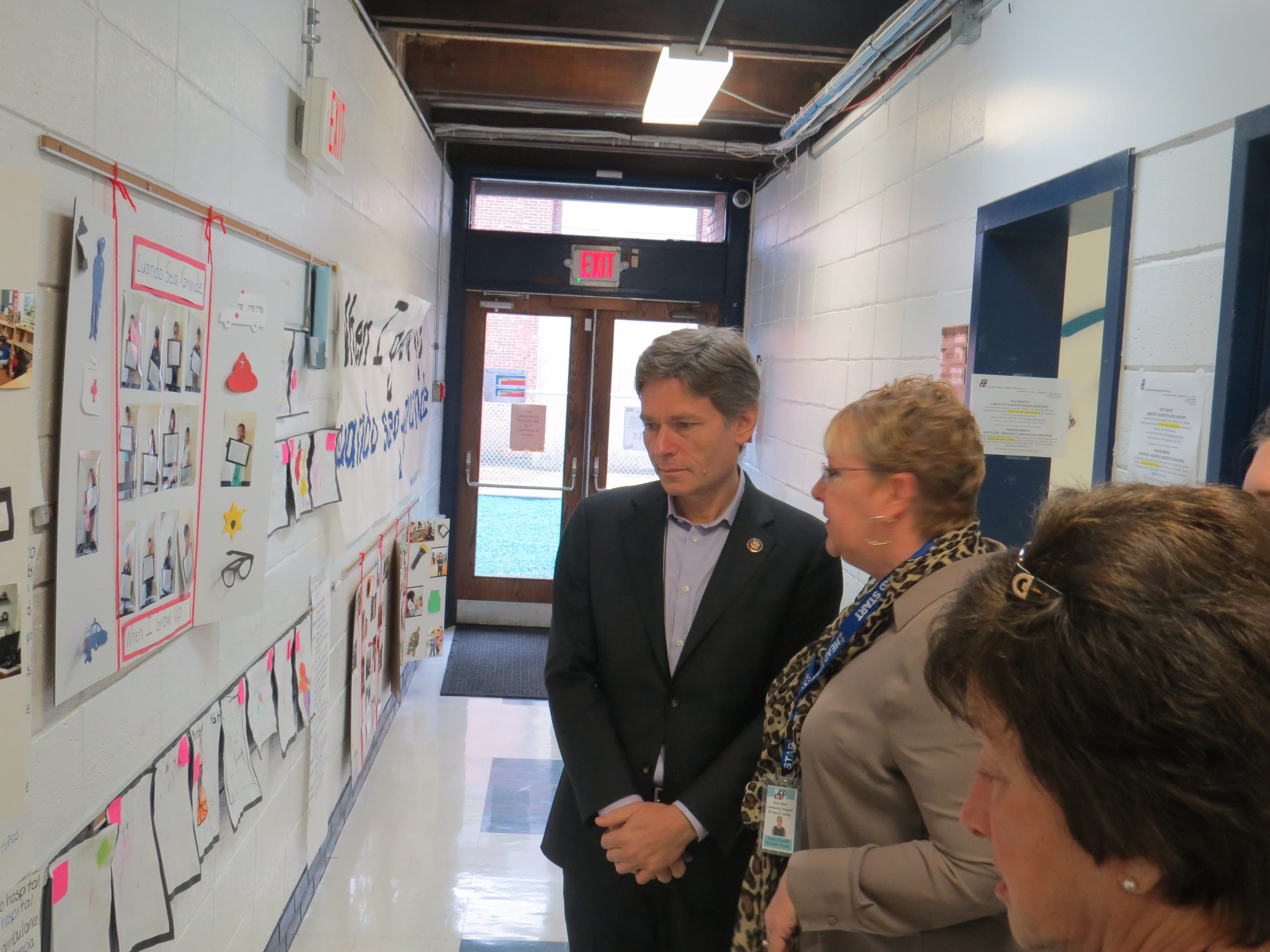 """Rep. Tom Malinowski visited the Head Start Community Program of Morris County and sat for """"interviews"""" with preschool journalists. March 21, 2019"""