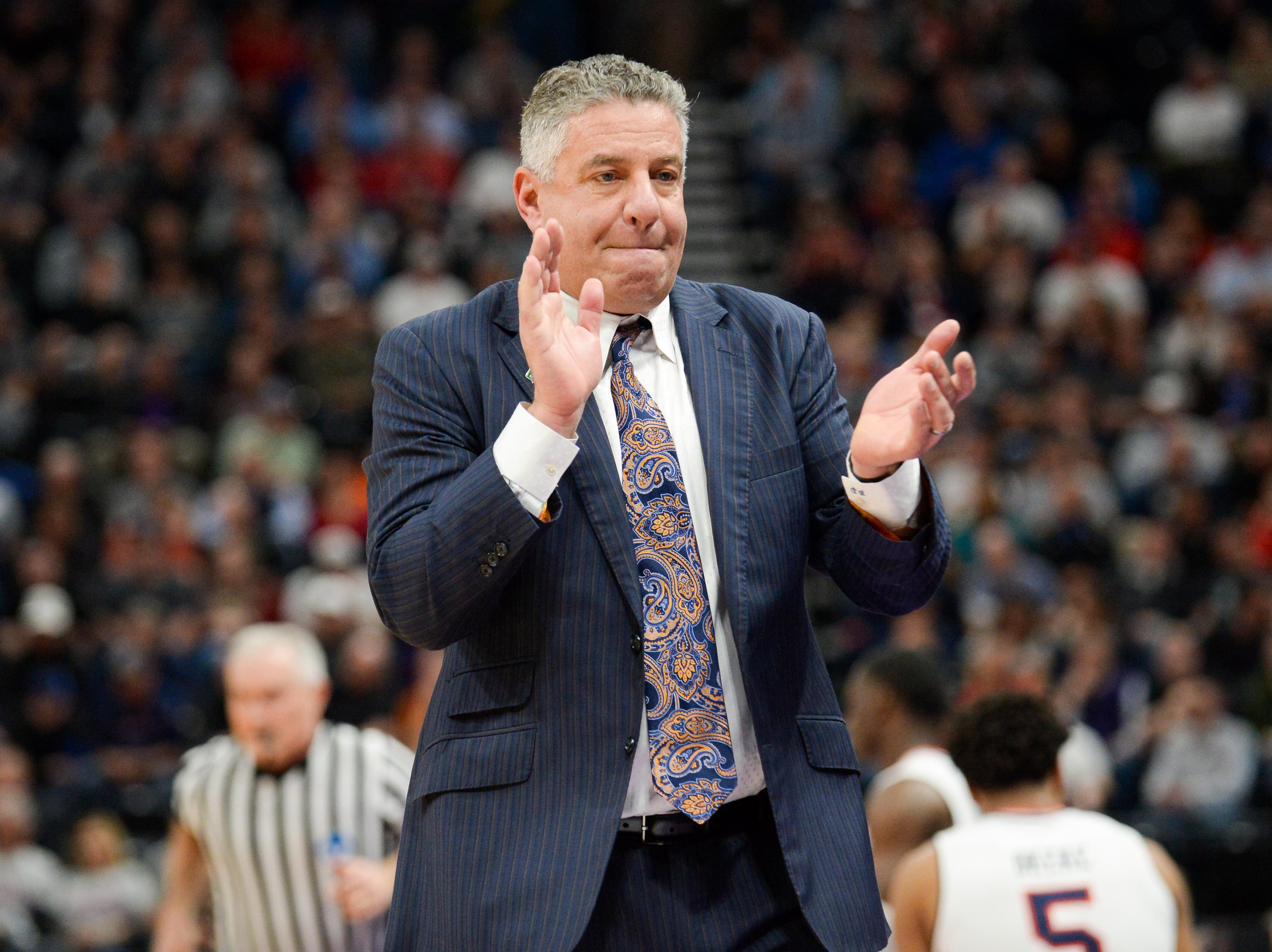 Auburn head coach Bruce Pearl reacts during the first round of the 2019 NCAA Tournament against the New Mexico State at Vivint Smart Home Arena on March 21, 2019, in Salt Lake City.