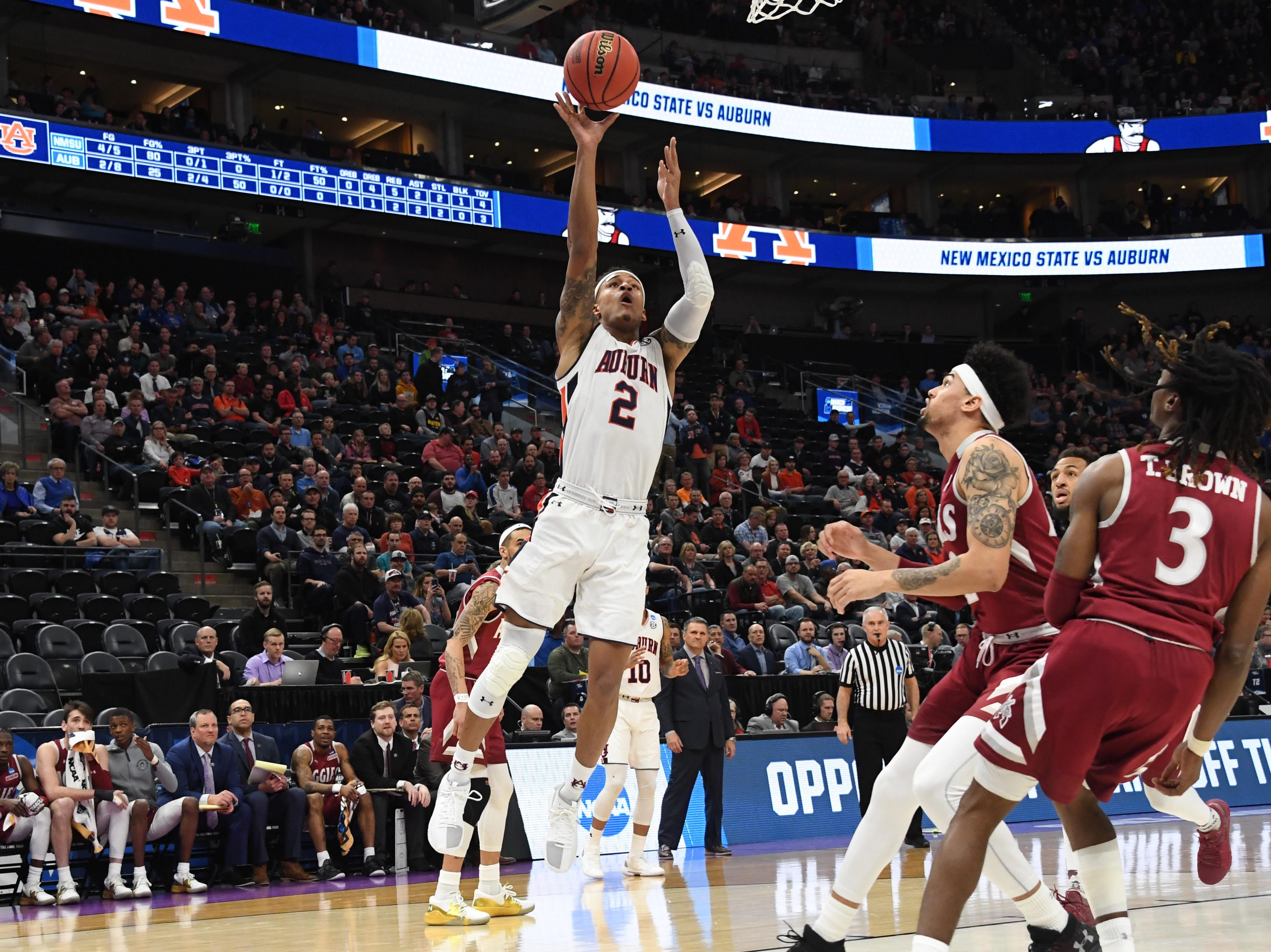 Mar 21, 2019; Salt Lake City, UT, USA; Auburn Tigers guard Bryce Brown (2) shoots during the first half in the first round of the 2019 NCAA Tournament against the New Mexico State Aggies at Vivint Smart Home Arena. Mandatory Credit: Kirby Lee-USA TODAY Sports