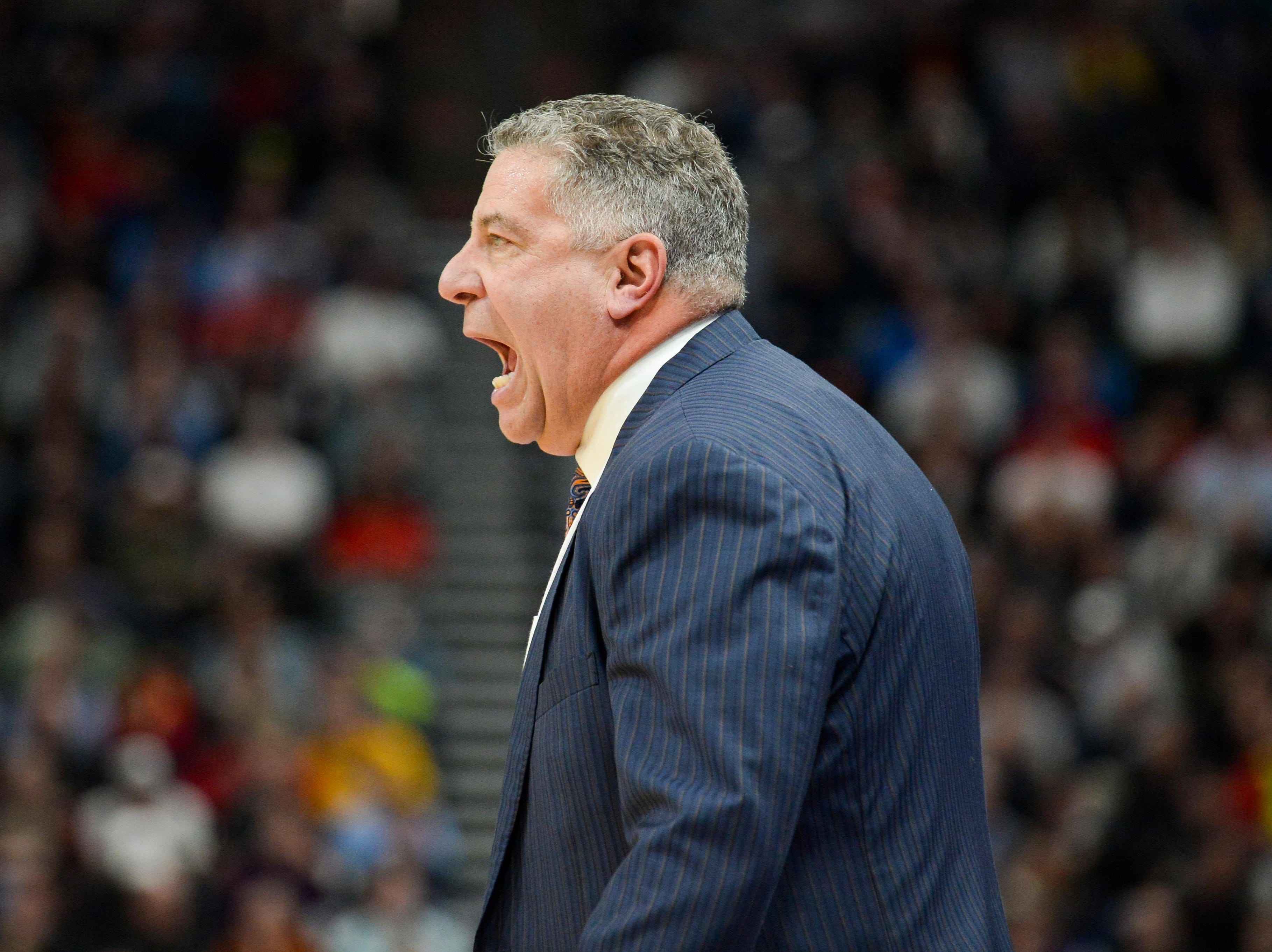 Mar 21, 2019; Salt Lake City, UT, USA; Auburn Tigers head coach Bruce Pearl reacts during the first half in the first round of the 2019 NCAA Tournament against the New Mexico State Aggies at Vivint Smart Home Arena. Mandatory Credit: Gary A. Vasquez-USA TODAY Sports