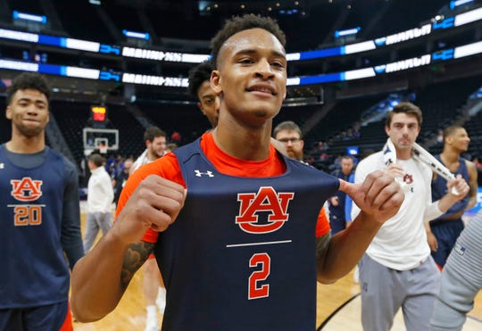 Auburn guard Bryce Brown walks off the court following practice before the NCAA Tournament on Wednesday, March 20, 2019, in Salt Lake City. (AP Photo/Rick Bowmer)