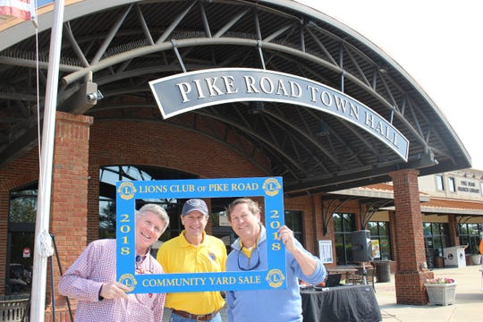 From left, Pike Road Mayor Gordon Stone, Lion and former Pike Road Mayor Wayne Rabren, and Lion and Pike Road council member Rob Steindorff enjoy the 2018 yard sale. Several hundred people and about 80 vendors are expected for the 2019 event that is set for April 27 from 7 a.m. to 11 a.m. at Pike Road Town Hall.