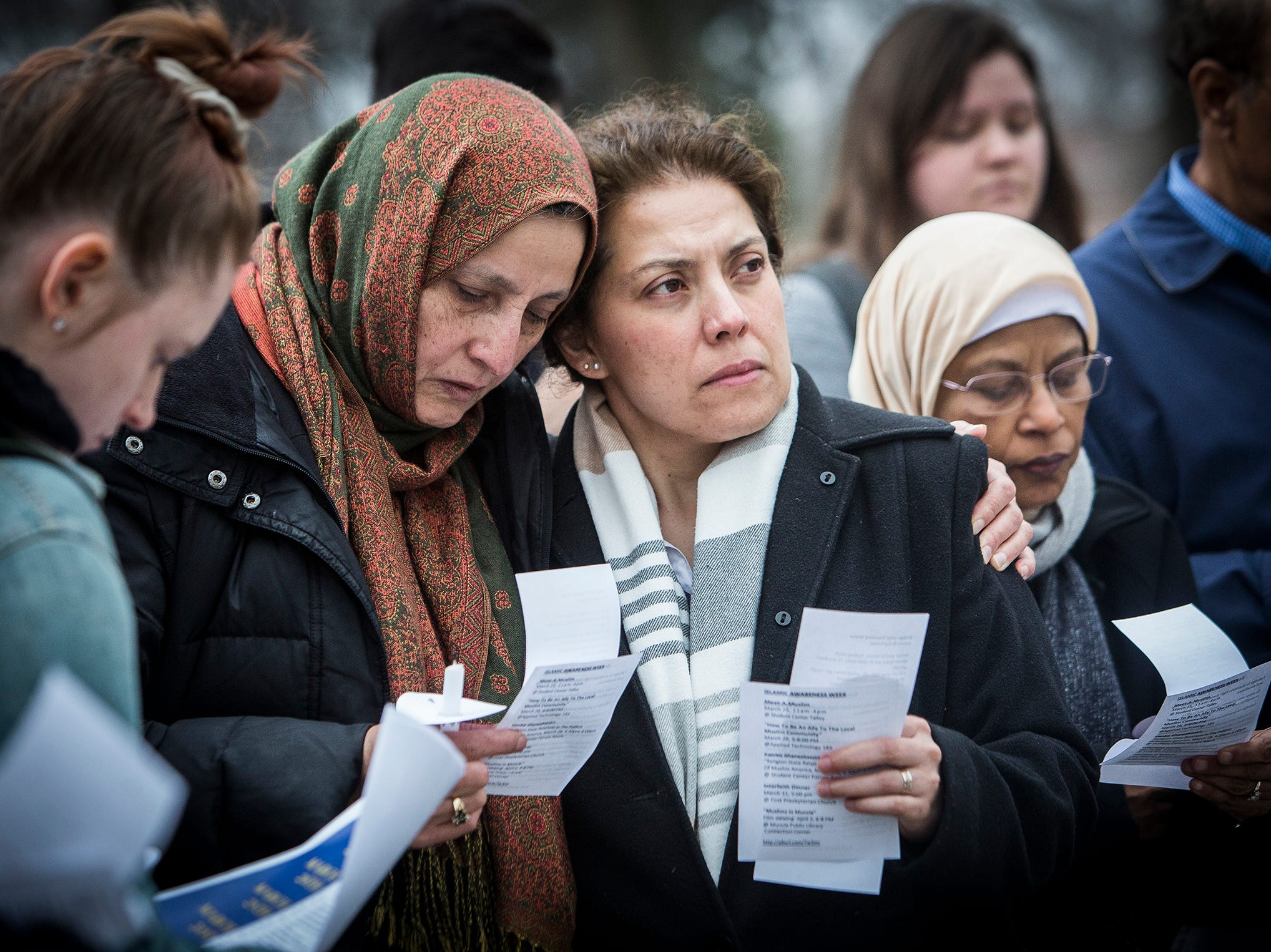 A small crowd gathered for a vigil honoring the victims of the Christchurch mosque shootings near Ball State's Beneficence statue Thursday afternoon. The event was co-sponsored by the Office of the President, the Office of Inclusive Excellence, and the Muslim Student Association.