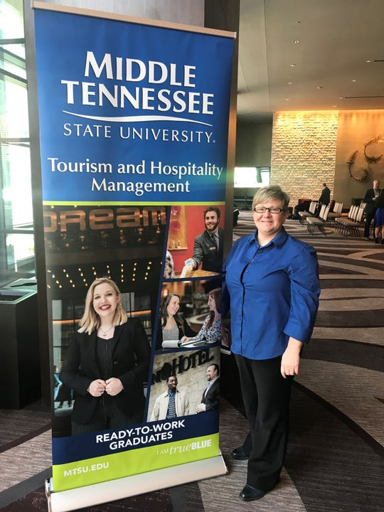 Joey Gray, Associate Professor of Leisure, Sport and Tourism Studies at MTSU, was on hand to speak at Thursday's announcement of a new degree program at Omni Hotel in Nashville.