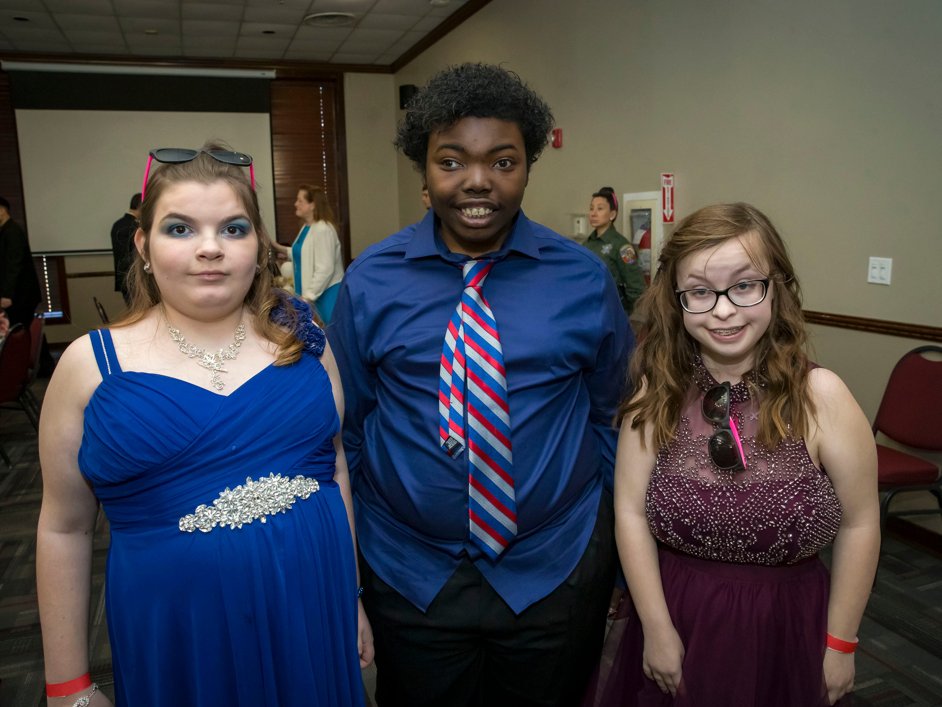 Alicia Lively, Antonio Wise and Nellie Slinker at the Rutherford County Schools special needs prom held at Smyrna Event Center.