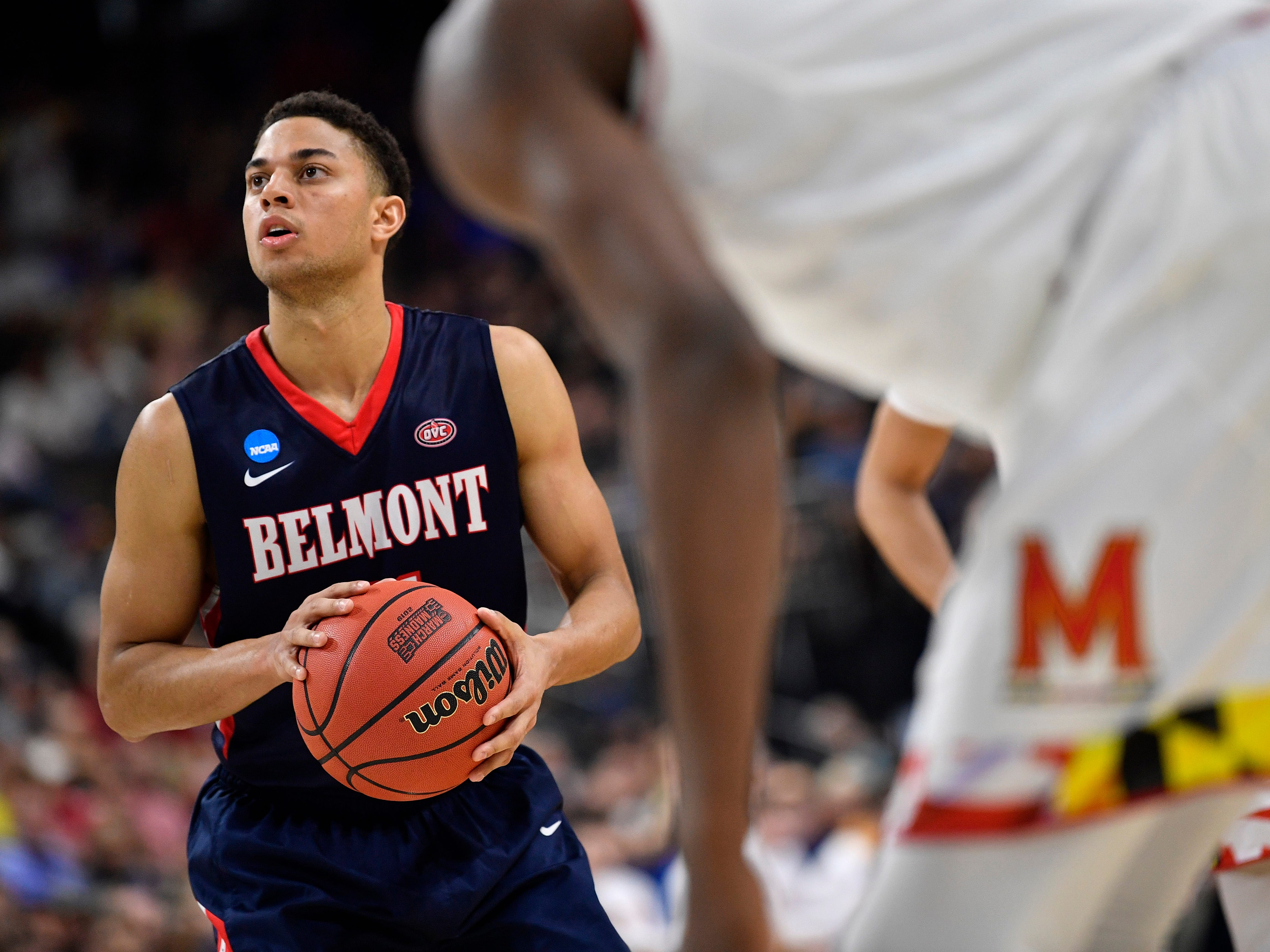 Belmont guard Kevin McClain (11) gets into position for a free throw during the second half of the first-round NCAA college basketball tournament game against Maryland at VyStar Veterans Memorial Arena in Jacksonville, Fla., Thursday, March 21, 2019.